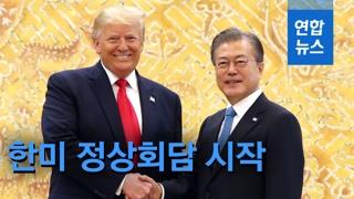 """[영상] 트럼프 """"김정은과 회동 기대""""…문대통령 """"나도 DMZ동행"""""""