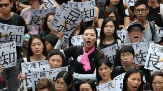 폴리스라인 쳐지고 무대 설치…홍콩 집회 준비 중