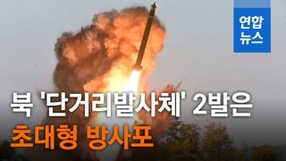 [영상] 북한 시험사격 단거리 발사체 2발은 '초대형 방사포'