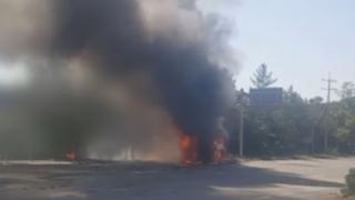 광양서 관광버스-25t 트럭 충돌…버스 기사 숨져