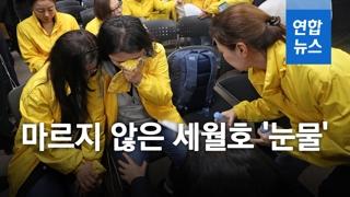"""[영상] 세월호 엄마들의 마르지 않은 눈물…""""헬기 태웠으면 살았을 것"""""""