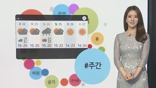 [날씨트리] 내일 서쪽 따뜻, 25도 안팎…밤 중부 요란한 비