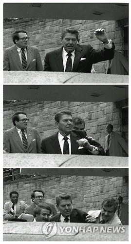 1981년 3월30일 암살기도 발생 당시의 로널드 레이건 전 대통령 모습