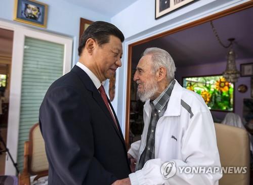 26일 타계한 피델 카스트로를 만난 중국 시진핑 주석 [AP=연합뉴스]