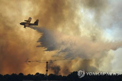 포르투갈 산불 진압 나선 소방 비행기