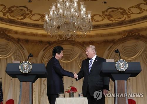 트럼프(오른쪽)와 아베 [AP=연합뉴스 자료사진]
