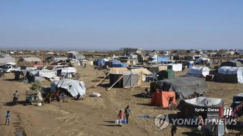 이스라엘 국경 앞 시리아 피란민 캠프