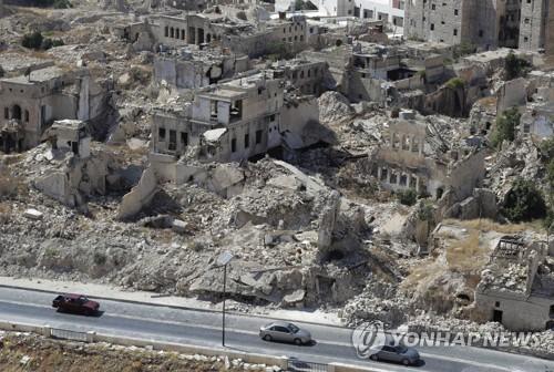러시아·시리아군 공습으로 폐허가 된 시리아 북부 알레포