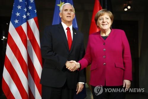 메르켈-펜스, 뮌헨안보회의서 '이란·獨-러 가스관' 각세워