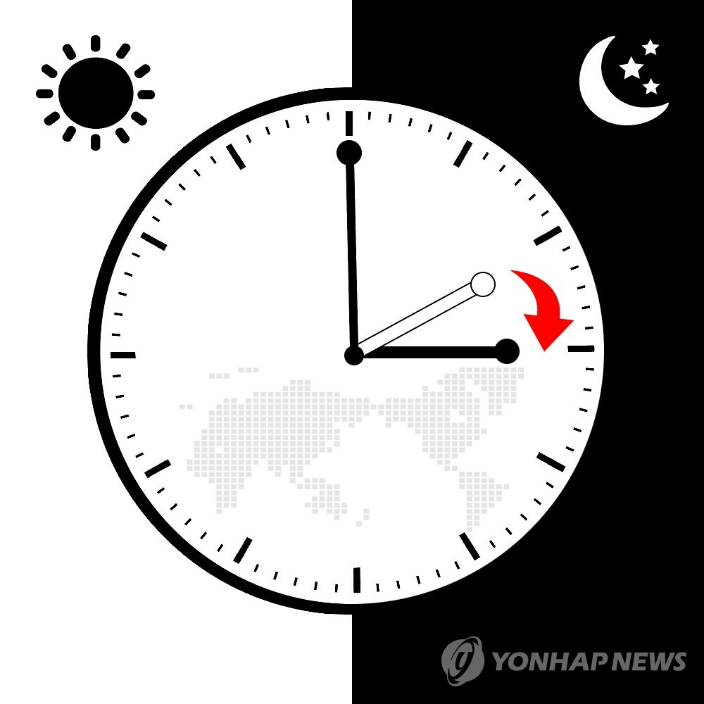 서머타임 일광절약시간제(일러스트)