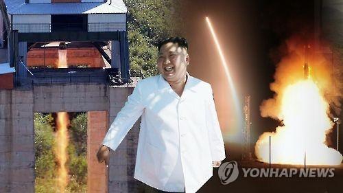 김정은 북한 노동당 위원장과 ICBM 추정 장거리로켓 발사 장면(CG)