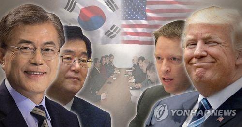 De gauche à droite : le président sud-coréen Moon Jae-in, le directeur du groupe de travail sur la diplomatie et la sécurité Chung Eui-yong, le directeur pour l'Asie de l'Est au NSC américain Matt Pottinger, le président américain Donald Trump