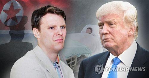 """트럼프 """"웜비어 위해 북한에 돈 지불하지 않았다""""(1보)"""