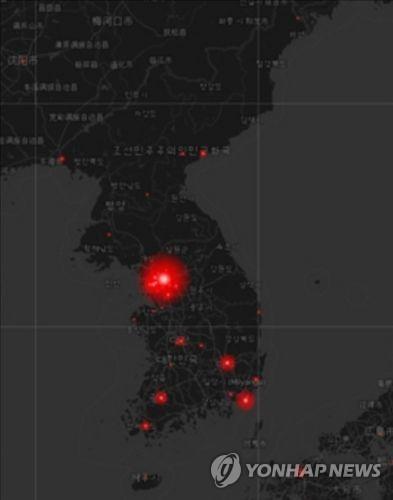 ツイッターコリアが公表した地図=(聯合ニュース)
