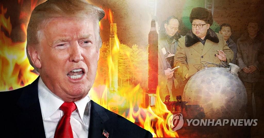 """트럼프, 북한에 """"미국 더 위협말라…'화염과 분노'에 직면할 것"""" (PG)"""