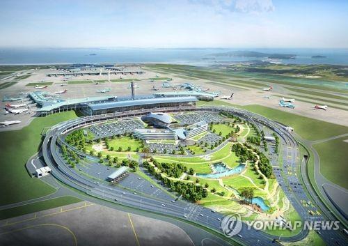 资料图片:仁川机场第二航站楼俯瞰图(韩联社/仁川国际空港公社提供)