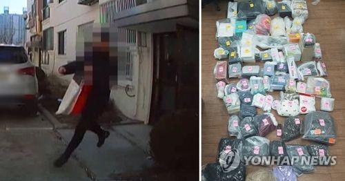 택배 물품을 훔쳐 달아나는 A씨(왼쪽), A씨가 훔친 택배 물품들