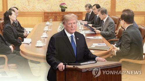 트럼프 '김정은, 문대통령 北초청'에 이틀째 '침묵' (CG)