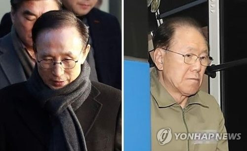 이명박 전 대통령(왼쪽)과 김백준 전 청와대 총무기획관