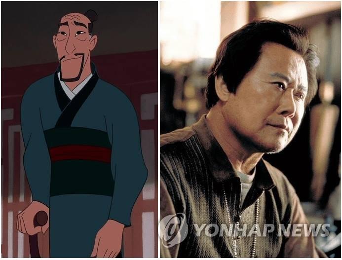 애니메이션 '뮬란'의 주인공 아버지(왼쪽) 목소리를 연기한 오순택(오른쪽)