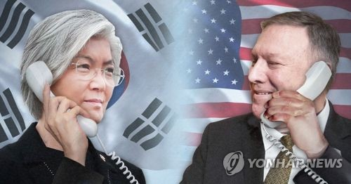 This image shows South Korean Foreign Minister Kang Kyung-wha (L) and U.S. Secretary of State Mike Pompeo. (Yonhap)