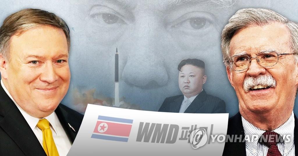 트럼프, 볼턴ㆍ폼페이오와 북한 대량파괴무기(WMD) 폐기 강조(PG)