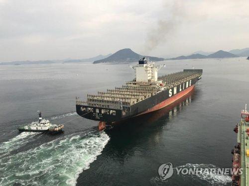 SM상선 8천600TEU 컨테이너선 [연합뉴스 자료사진]