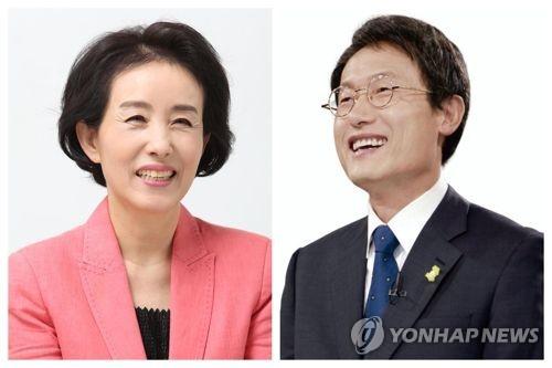 박선영 서울시교육감 후보(왼쪽)와 조희연 후보(오른쪽)