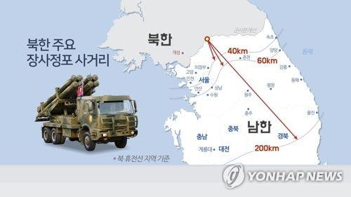북한 주요 장사정포 사거리(CG)