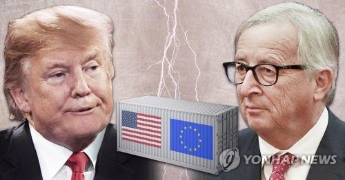 미국 트럼프-융커 EU집행위원장 무역 담판 (PG)