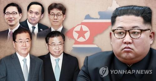 방북 특사단과 김정은 (PG)