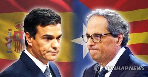 산체스 스페인 총리와 킴 토라 카탈루냐자치정부 수반(PG)