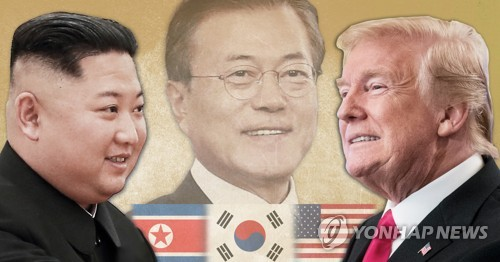 This image shows (from L to R) North Korean leader Kim Jong-un, South Korean President Moon Jae-in and U.S. President Donald Trump. (Yonhap)