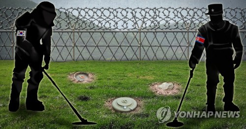 This image depicts South and North Korean troops participating in a landmine removal operation in the Demilitarized Zone. (Yonhap)