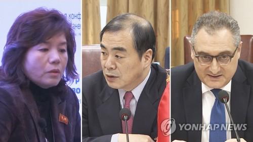 La vice-ministre nord-coréenne des Affaires étrangères Choe Son-hui ( à gauche) et ses homologues chinois et russe, Kong Xuanyou (au centre) et Igor Morgoulov. (Yonhap News TV)