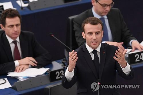 유럽의회 연설하는 에마뉘엘 마크롱 프랑스 대통령