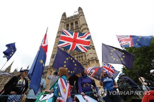 영국 의회 밖 브렉시트 반대 지지자들의 시위 [AFP=연합뉴스]