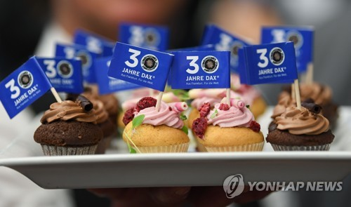 이달 2일 프랑크푸르트 증권거래소에서 제공된 DAX 지수 30주년 축하 컵케이크