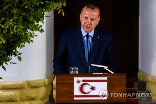 북키프로스 방문한 에르도안 터키 대통령