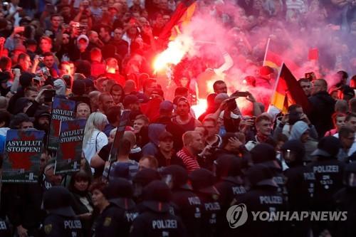 켐니츠에서의 극우 세력 시위 [AFP=연합뉴스]