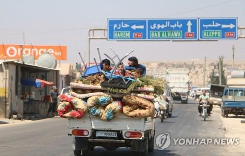 시리아 북서부 이들립의 피란 트럭