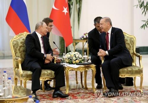 테헤란에서 양자 회담하는 푸틴 러시아 대통령(왼쪽)과 에르도안 터키 대통령