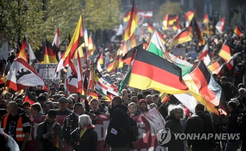 베를린서의 극우 시위 [AFP=연합뉴스]