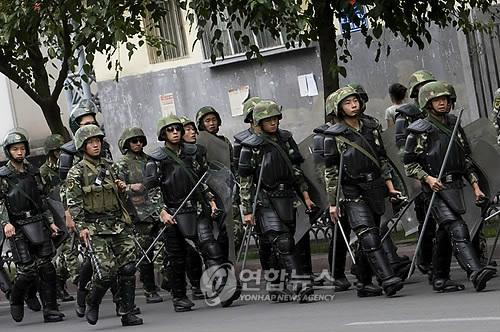 2009년 우루무치 시위 당시 시위 진압에 나선 중국 치안병력