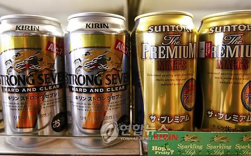일본 맥주회사 기린과 산토리의 제품들 [EPA=연합뉴스 자료사진]