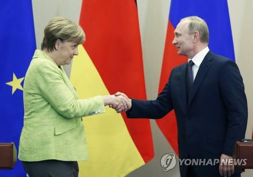 푸틴 대통령과 메르켈 총리 [EPA=연합뉴스]