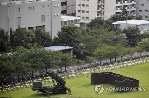 도쿄 방위성 부지 내 배치된 PAC-3 패트리엇 미사일 포대