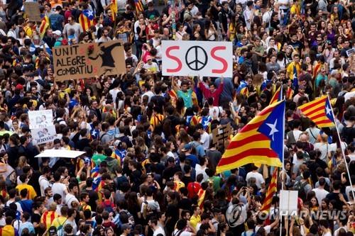 독립요구 카탈루냐 시민들 총파업…도심집회에 30만 운집