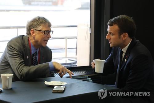 기후변화 논의하는 빌 게이츠와 마크롱 프랑스 대통령