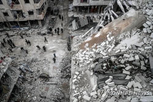 무차별 공습에 파괴된 시리아 수도 동쪽 동(東)구타